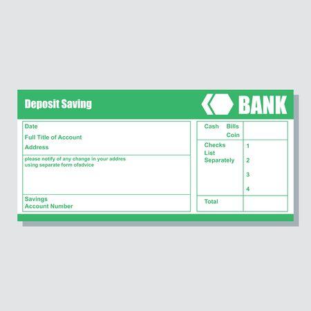 deposito cuenta de ahorro pago bancario comprobante de papel con espacio de texto para agregar su identidad y montos. ilustración vectorial