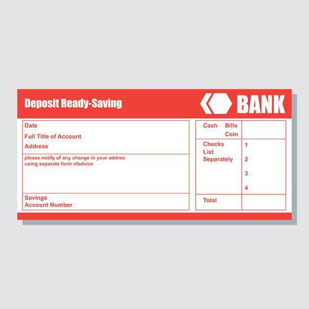 deposit ready saving account bank payment paper slip with text space to add your identity and amounts. vector illustration
