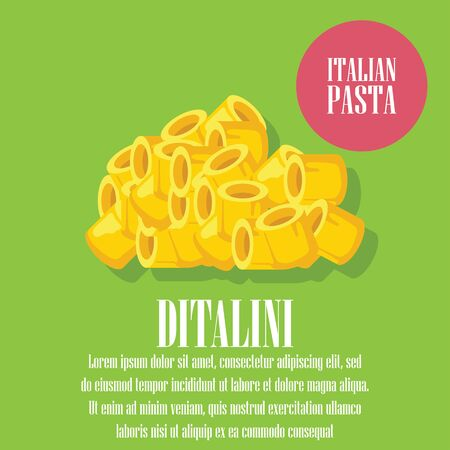 dry ditalini pasta banner for italian pasta cuisine . vector illustration