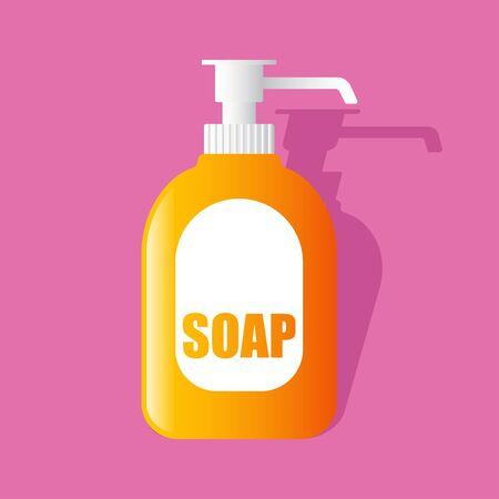 liquid soap bottle with dispenser airless pump. vector illustration Иллюстрация