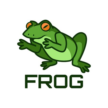 green frog logo isolated on white background. vector illustration