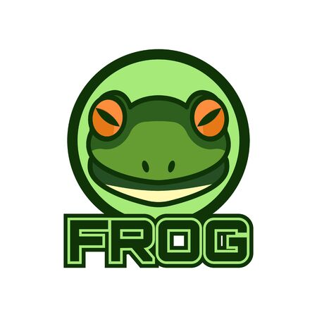 green frog logo isolated on white background. vector illustration
