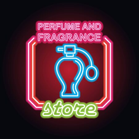 perfume fragrance with neon sign effect, vector illustration
