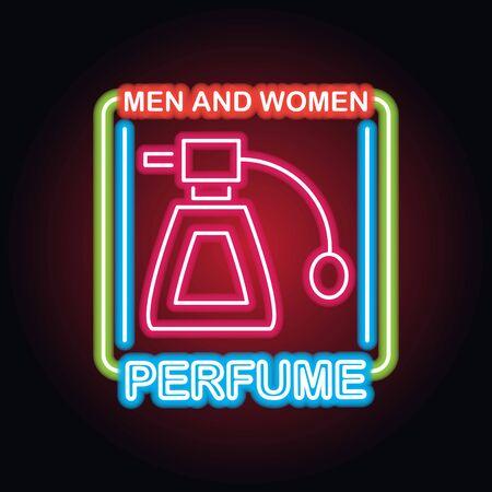 parfum de parfum pour hommes et femmes avec effet d'enseigne au néon, illustration vectorielle Vecteurs