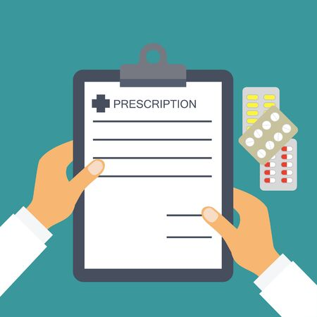 prescription from doctor for healthcare and medical concepts. vector illustration