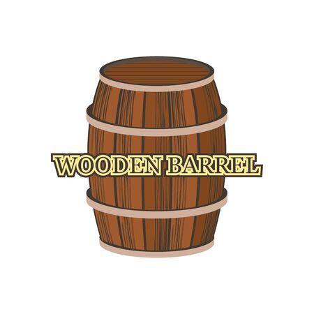 wooden barrel isolated on white background. vector illustration