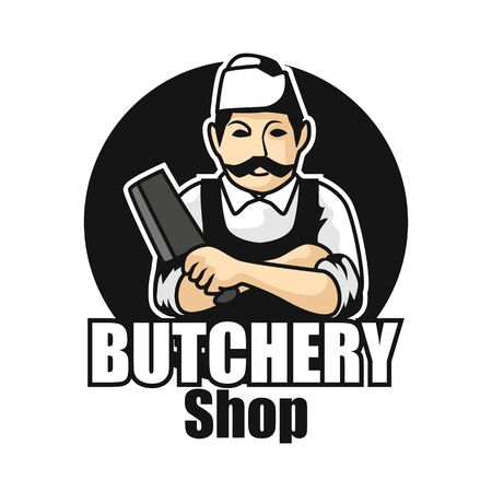butcher logo isolated on white background. vector illustration