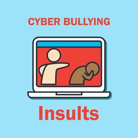 Cyber-Mobbing im Internet für Cyber-Mobbing-Konzept. Vektor-Illustration