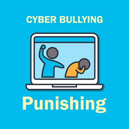 cyber bullying on internet for cyber bullying concept. vector illustration