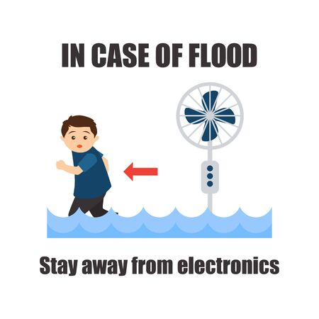 flood awareness for flood safety procedure concept. vector illustration Stock Illustratie