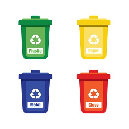 colored trash cans blue red with metal, paper, plastic, glass and organic waste suitable for reuse reduce recycle. waste sorting garbage. vector illustration