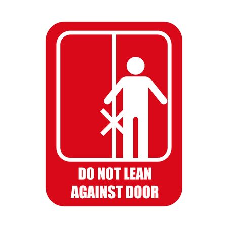 do not lean against door isolated on white background. vector illustration  イラスト・ベクター素材