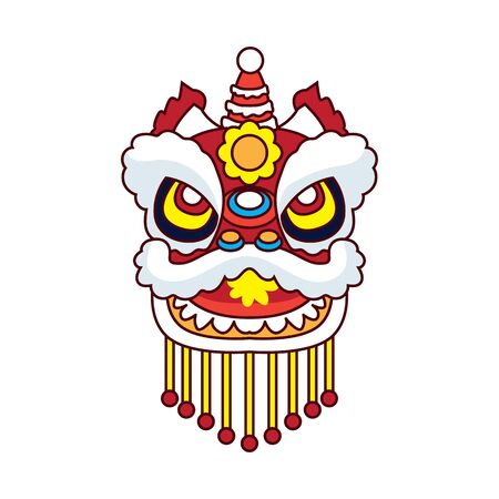 lion dance for chinese new year festival. vector illustration