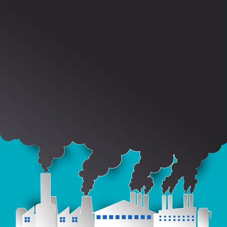 polluting air from factory pipe and cesspit, environmental for pollution concept. vector illustration  イラスト・ベクター素材