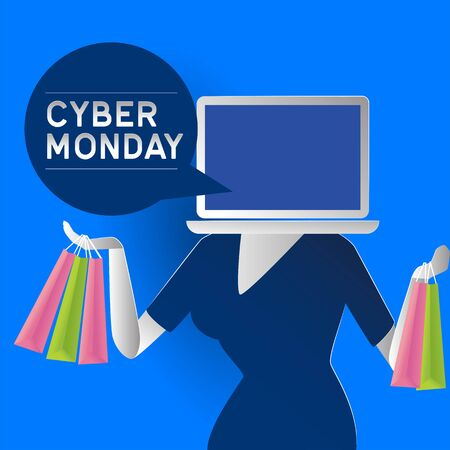cyber monday sale poster. vector illustration