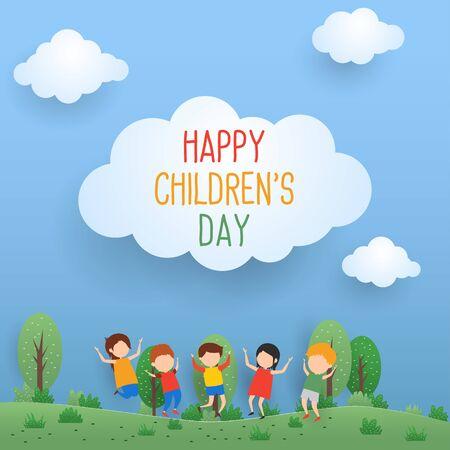 happy children's day for international children celebration. vector illustration