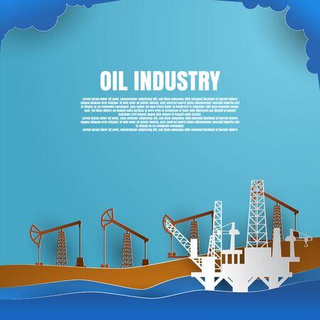 drilling rig for oil production platform in offshore paper art. vector illustration Vektorové ilustrace