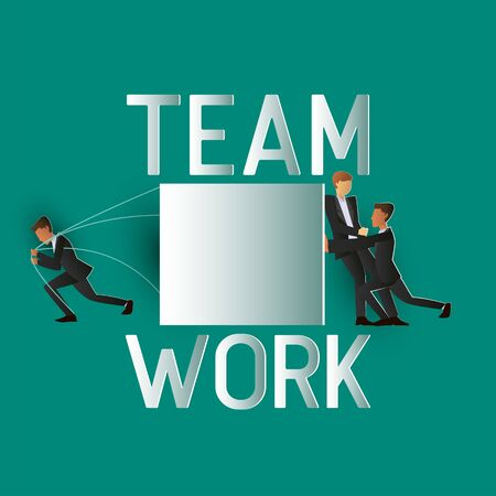 team work business man  working and supporting each other. paper art vector illustration