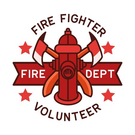 firefighter logo isolated on white background. vector illustration