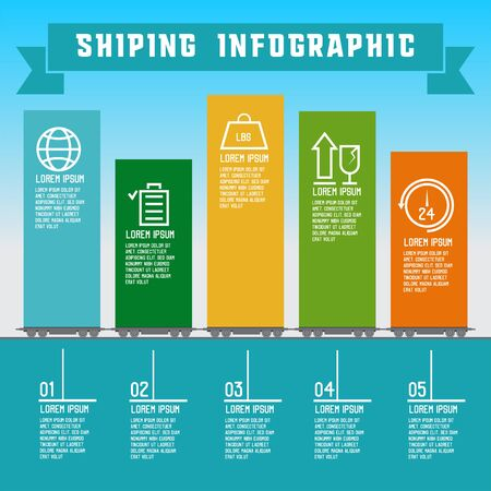 shipping info graphic for business. vector illustration Illustration