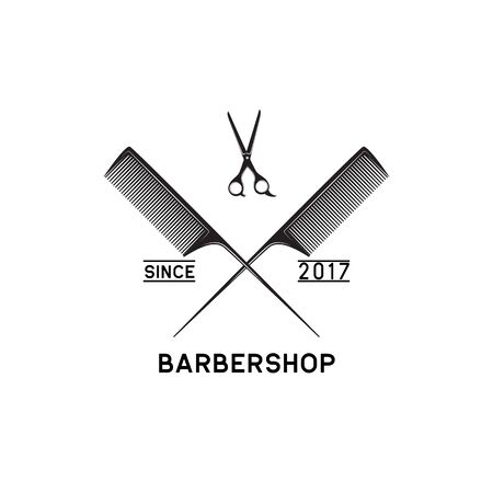 barber shop logo isolated on white background, vector illustration