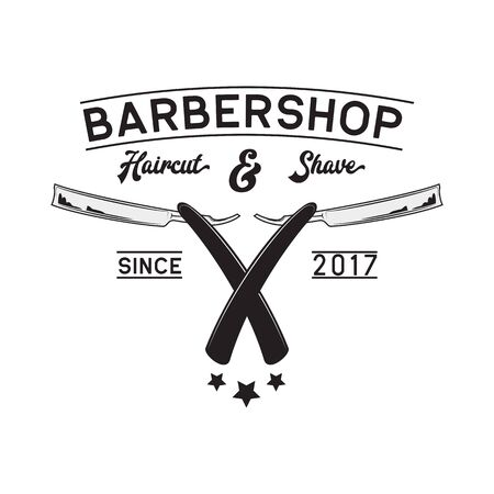 barber shop logo isolated on white background, vector illustration
