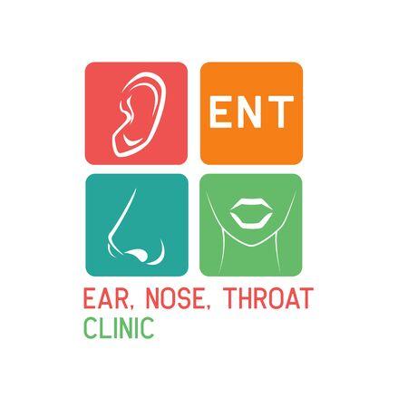 ear nose throat (ENT) logo for Otolaryngologists  clinic concept. vector illustration Illustration