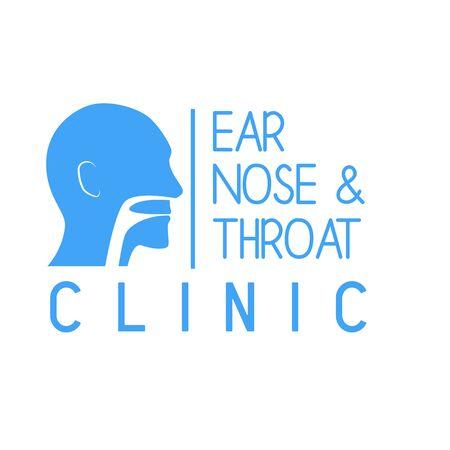 Logotipo de oído, nariz y garganta (ENT) para el concepto de clínica de otorrinolaringólogos. ilustración vectorial