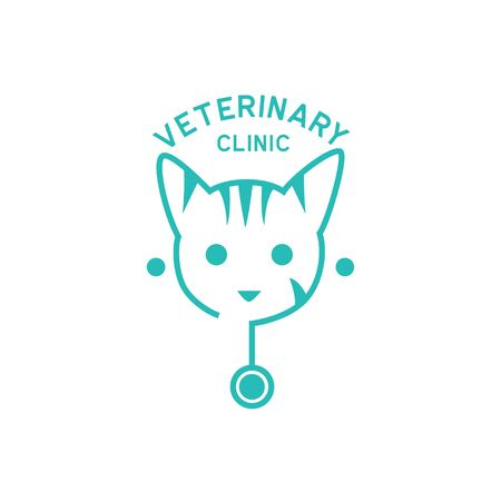 veterinary logo with text space for your slogan tagline, vector illustration