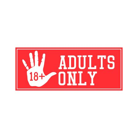 adults only warning on white background. vector illustration