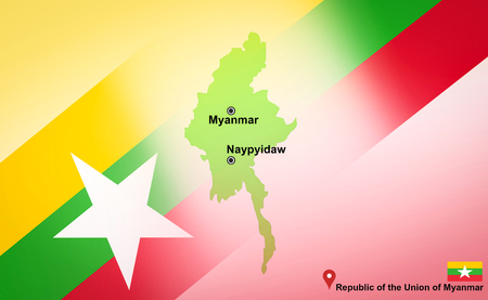 Myanmar map and Naypyidaw with location map pin and Myanmar flag on map travel of Asia - Republic of the Union of Myanmar