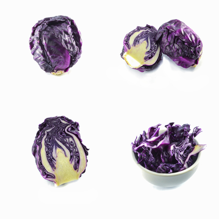 fresh purple cabbage isolated  purple  of red cabbage vegetable on set isolated on white background