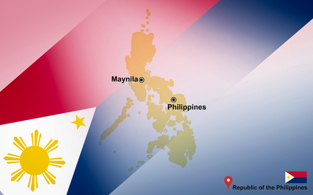 Philippines map and Maynila with location map pin and Philippines flag on travel map of Asia - Republic of the Philippines