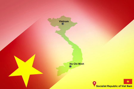 Vietnam map and Ho Chi Minh with location map pin and Vietnam flag on map travel of Asia - Socialist Republic of Viet Nam