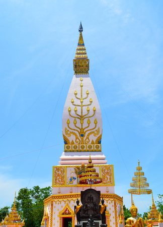 pagoda colorful symbol of buddhism  beautiful pagoda at Tha Li Loei in north -eastern Thailand  Thai name PhraThat Sat Ja
