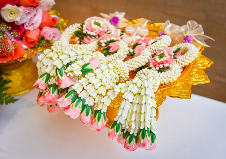 garland jasmine  colorful of garland flower beautiful on phan - tradition garland thai for mother day or wedding flower bunch
