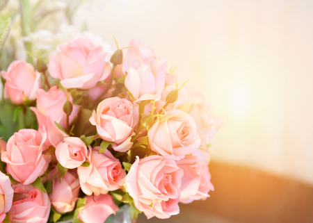 pink rose flower / soft color pink roses flower bouquet on table blur background
