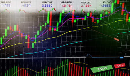 Stock Forex trading - Business graph charts of financial / forex charts graph board data information display stock background BUY and SELL options on screen - Stock exchange market analysis