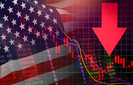 USA. America market stock crisis red price arrow down chart fall / Stock exchange market analysis forex graph business finance money crisis losing moving down with America usa flag