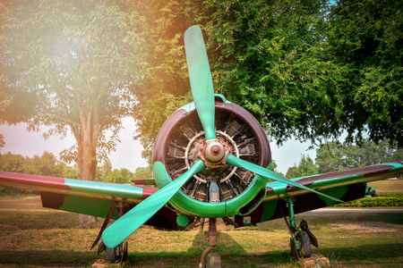 old military airplane for soldier warrior in the world war in the park - old aircraft engine  retro aviation camouflage pattern Stock Photo