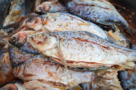 fermented fish or pickled fish/ traditional thai style food with rice ferment  raw preserved fish name in thai Pla Som