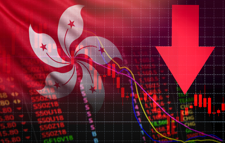 hong kong stock exchange crisis red price arrow down chart fall / hangseng stock exchange market analysis forex graph business money crisis moving down inflation deflation with flag of hong kong