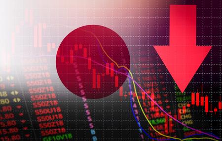 Japan-Tokio-Börsenmarktkrise roter Preispfeil nach unten Diagramm fallen / Nikkei-Börsenmarktanalyse Forex-Grafik Geschäftsgeldkrise nach unten Inflationsdeflation mit Flagge von Japan Standard-Bild