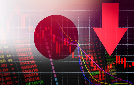 Japan tokyo stock exchange market crisis red price arrow down chart fall / nikkei stock exchange market analysis forex graph business money crisis moving down inflation deflation with flag of Japan