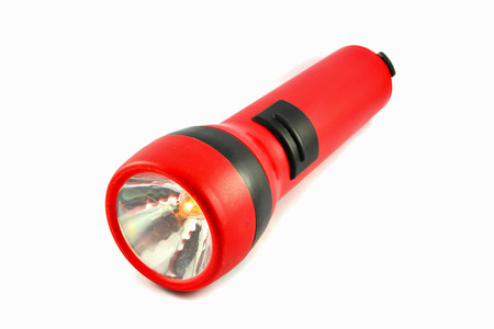 flashlight isolated With orange lights  Red torch light on white background Imagens