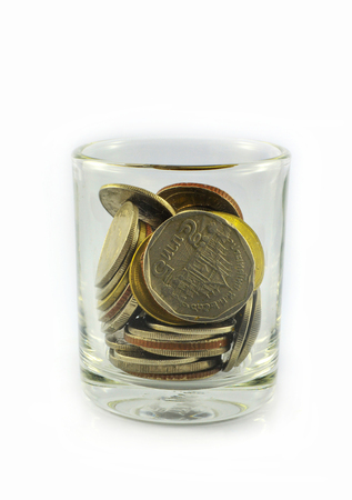 coins in a glass / coins of Thailand saving money