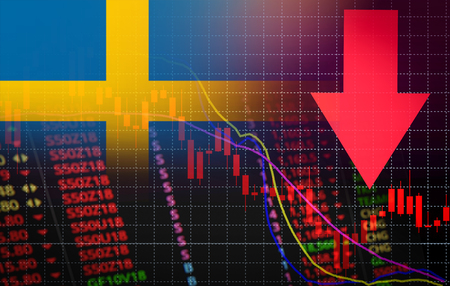 Sweden Stock Exchange market crisis red market price down chart fall  Stock analysis or forex charts graph Business and finance money crisis red negative drop in sales economic fall