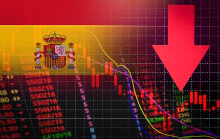 Mercado de valores de España crisis del mercado rojo caída del gráfico de precios del mercado / análisis de acciones o gráfico de gráficos de forex Negocios y finanzas crisis monetaria rojo caída negativa en las ventas caída económica Foto de archivo