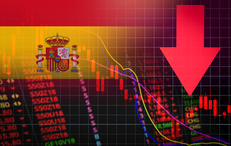 Spanien Börse Marktkrise roter Marktpreis nach unten Chart fallen / Aktienanalyse oder Forex-Charts-Diagramm Geschäft und Finanzen Geldkrise rot negativer Rückgang des Umsatzes wirtschaftlicher Rückgang Standard-Bild