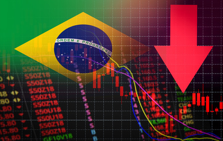 Brazil Stock Exchange market crisis red market price down chart fall / Stock analysis or forex charts graph Business and finance money crisis red negative drop in sales economic fall